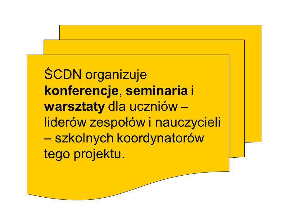 ŚCDN organizuje konferencje, seminaria i warsztaty dla uczniów – liderów zespołów i nauczycieli – szkolnych koordynatorów tego projektu.