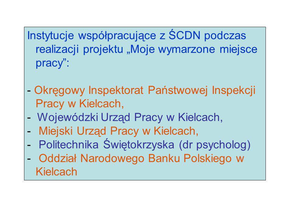 Instytucje współpracujące z ŚCDN podczas realizacji projektu Moje wymarzone miejsce pracy: - Okręgowy Inspektorat Państwowej Inspekcji Pracy w Kielcac