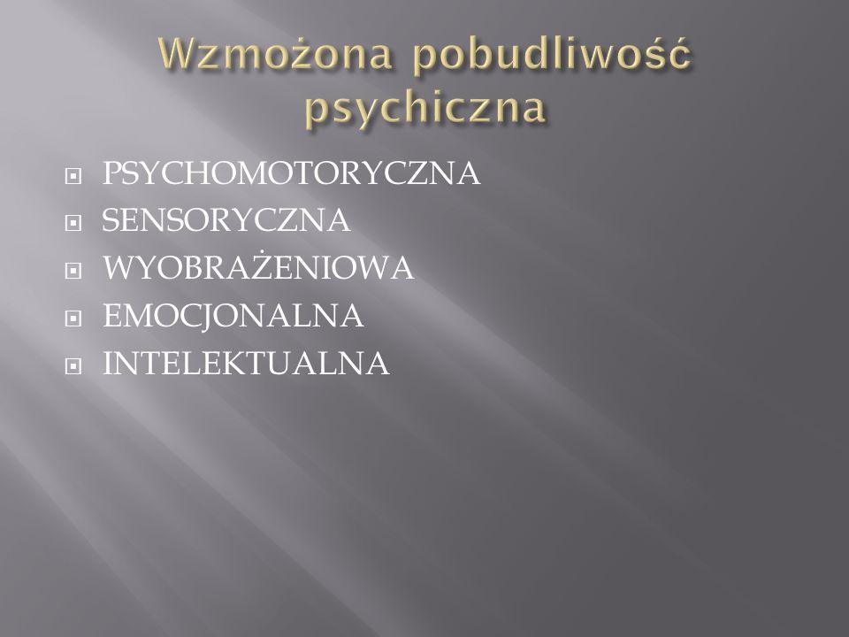 PSYCHOMOTORYCZNA SENSORYCZNA WYOBRAŻENIOWA EMOCJONALNA INTELEKTUALNA