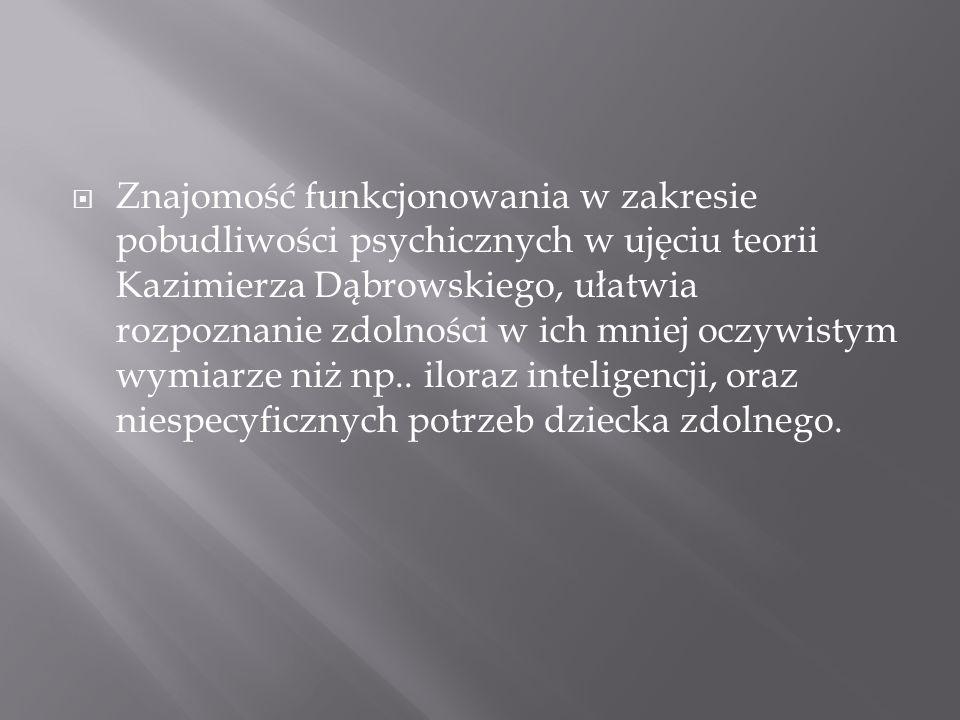 Znajomość funkcjonowania w zakresie pobudliwości psychicznych w ujęciu teorii Kazimierza Dąbrowskiego, ułatwia rozpoznanie zdolności w ich mniej oczyw
