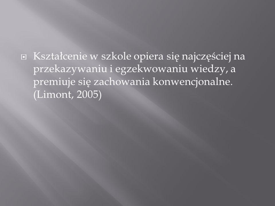 Kształcenie w szkole opiera się najczęściej na przekazywaniu i egzekwowaniu wiedzy, a premiuje się zachowania konwencjonalne. (Limont, 2005)