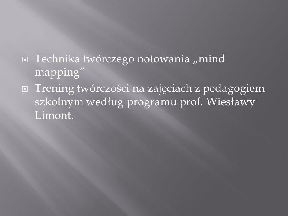 Technika twórczego notowania mind mapping Trening twórczości na zajęciach z pedagogiem szkolnym według programu prof. Wiesławy Limont.