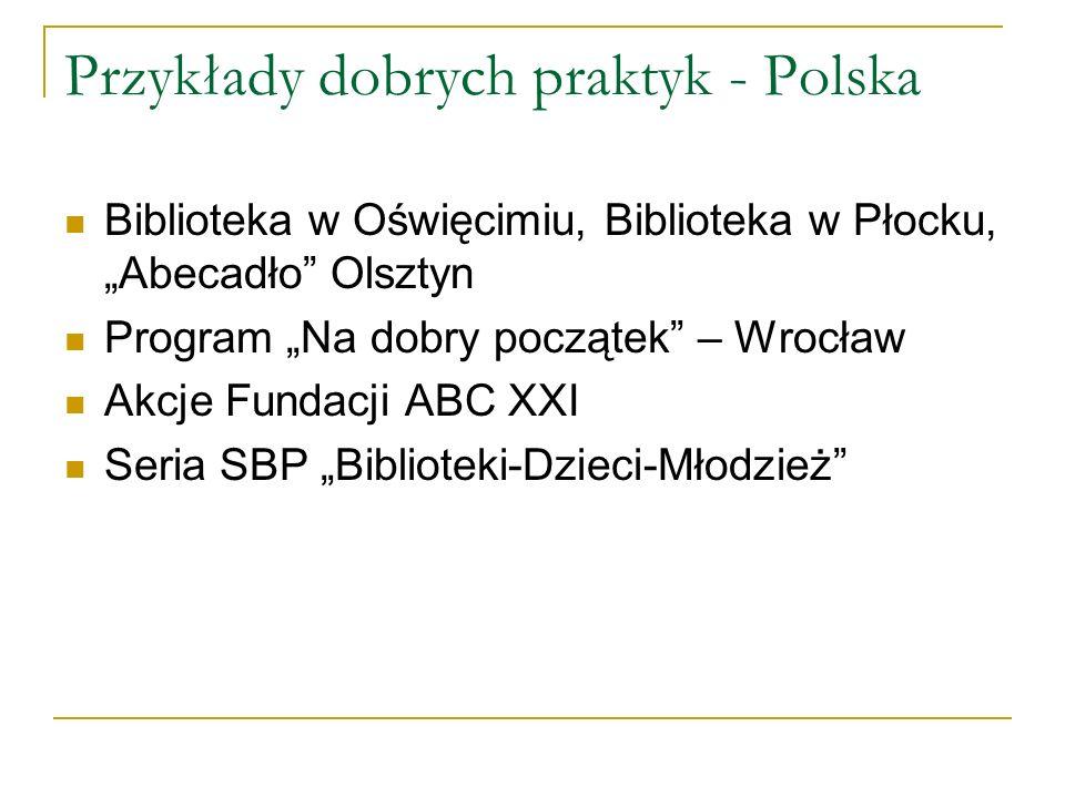 Przykłady dobrych praktyk - Polska Biblioteka w Oświęcimiu, Biblioteka w Płocku, Abecadło Olsztyn Program Na dobry początek – Wrocław Akcje Fundacji A