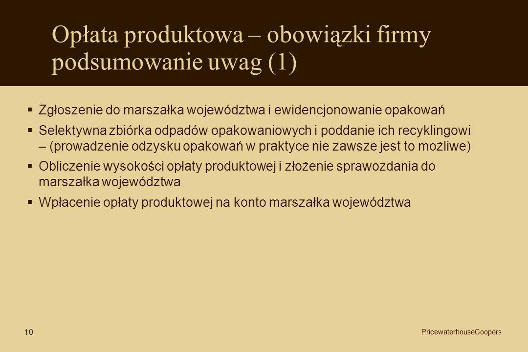 Opłata produktowa – obowiązki firmy podsumowanie uwag (1) Zgłoszenie do marszałka województwa i ewidencjonowanie opakowań Selektywna zbiórka odpadów o