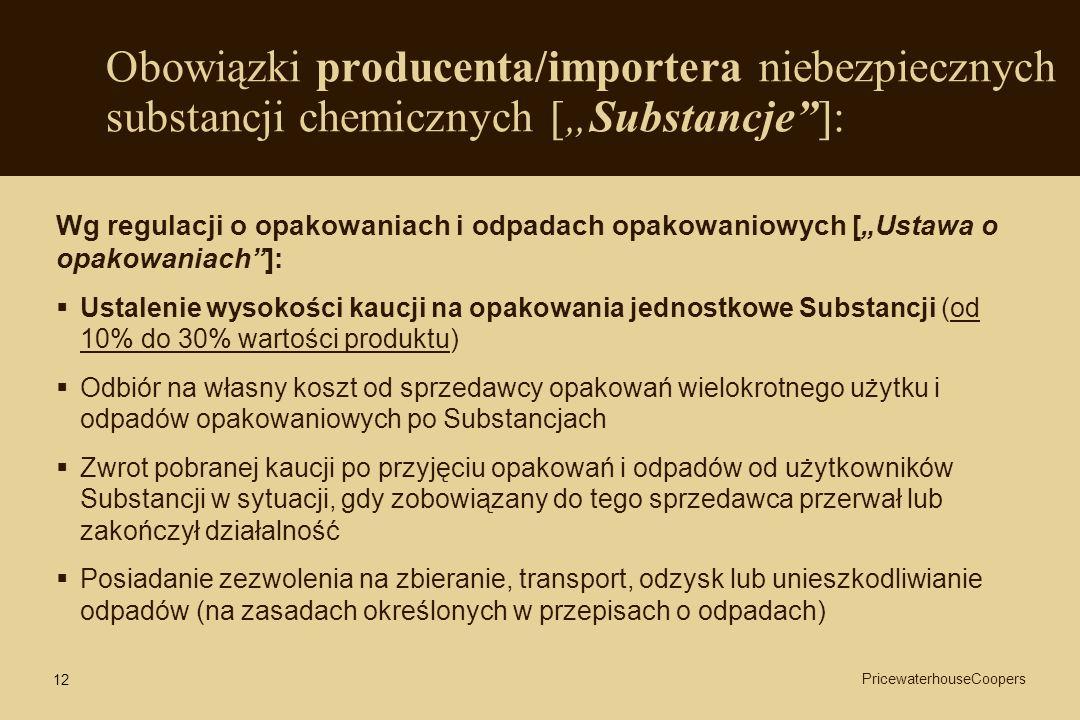 12 Obowiązki producenta/importera niebezpiecznych substancji chemicznych [Substancje]: Wg regulacji o opakowaniach i odpadach opakowaniowych [Ustawa o