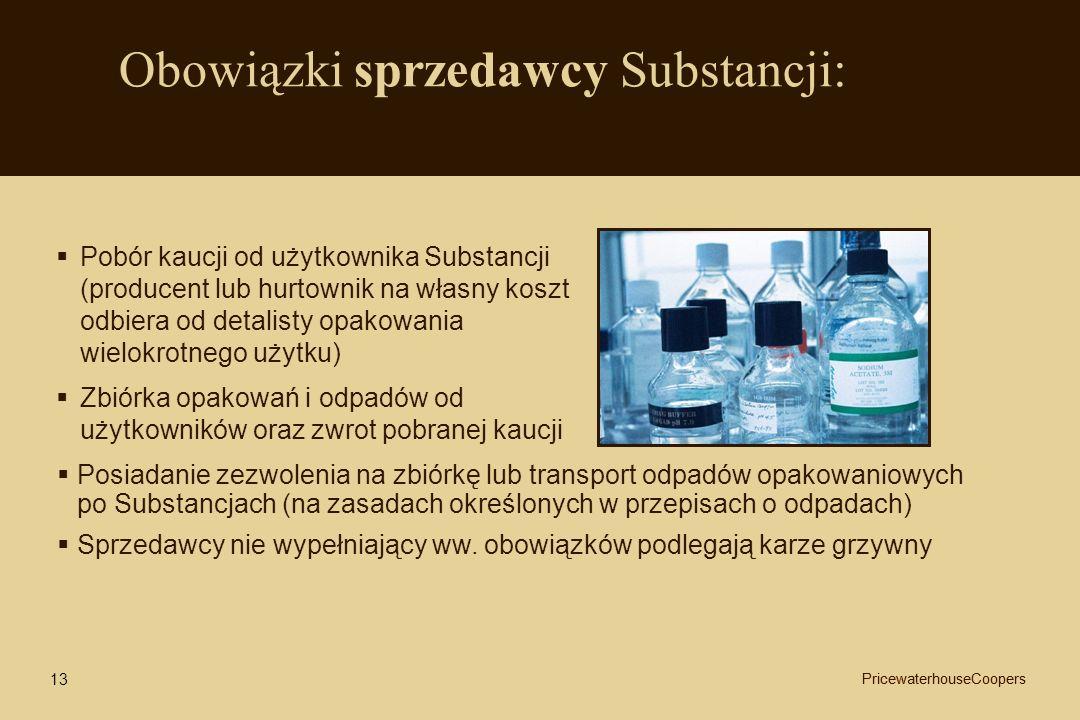 Obowiązki sprzedawcy Substancji: Pobór kaucji od użytkownika Substancji (producent lub hurtownik na własny koszt odbiera od detalisty opakowania wielo
