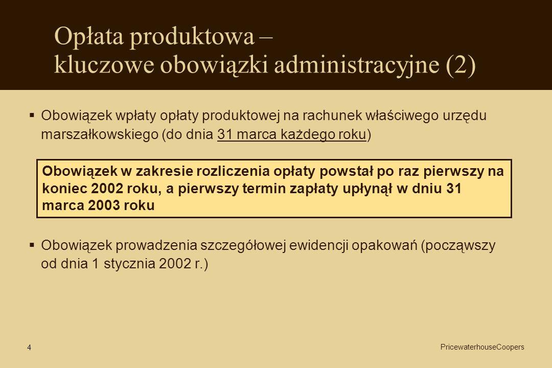 4 Opłata produktowa – kluczowe obowiązki administracyjne (2) Obowiązek wpłaty opłaty produktowej na rachunek właściwego urzędu marszałkowskiego (do dn