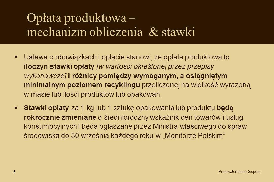 6 Opłata produktowa – mechanizm obliczenia & stawki Ustawa o obowiązkach i opłacie stanowi, że opłata produktowa to iloczyn stawki opłaty [w wartości