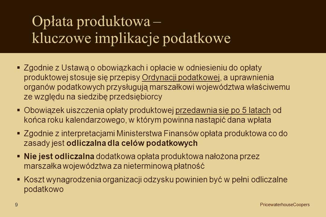 Opłata produktowa – kluczowe implikacje podatkowe Zgodnie z Ustawą o obowiązkach i opłacie w odniesieniu do opłaty produktowej stosuje się przepisy Or