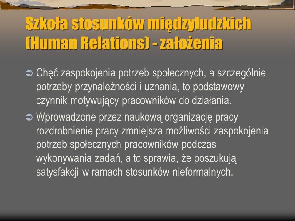 Szkoła stosunków międzyludzkich (Human Relations) - założenia Chęć zaspokojenia potrzeb społecznych, a szczególnie potrzeby przynależności i uznania,