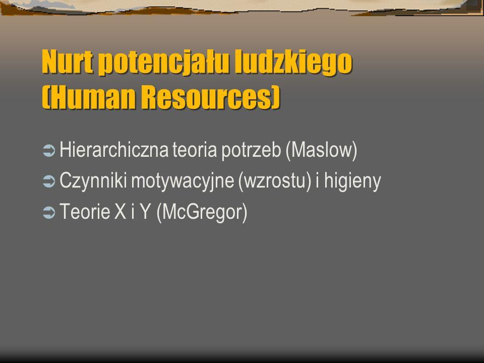 Nurt potencjału ludzkiego (Human Resources) Hierarchiczna teoria potrzeb (Maslow) Czynniki motywacyjne (wzrostu) i higieny Teorie X i Y (McGregor)