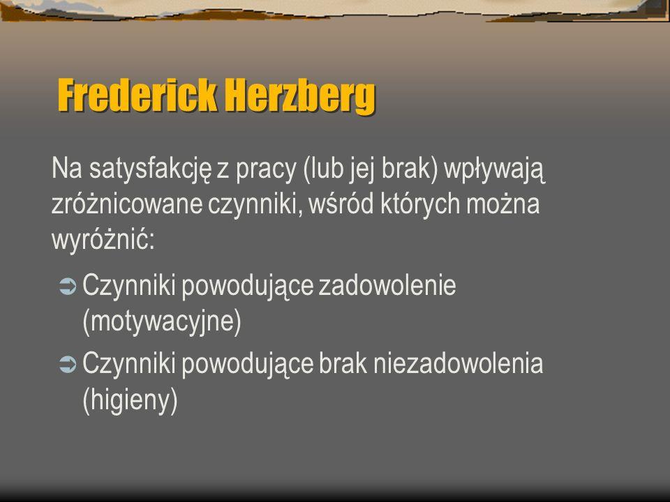 Frederick Herzberg Czynniki powodujące zadowolenie (motywacyjne) Czynniki powodujące brak niezadowolenia (higieny) Na satysfakcję z pracy (lub jej bra