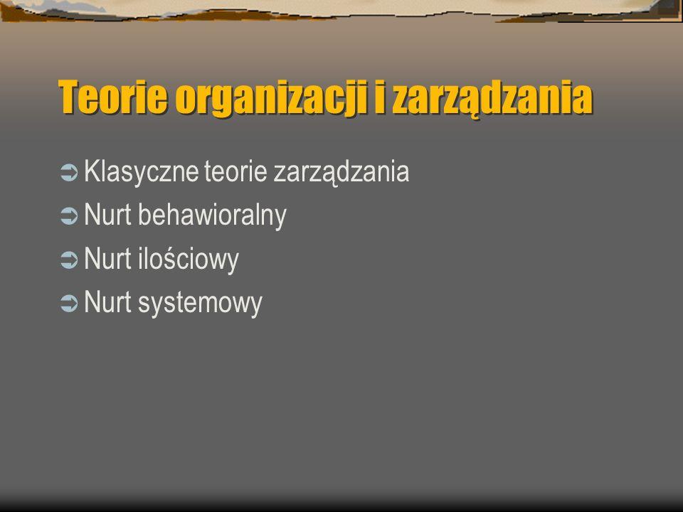 Teorie organizacji i zarządzania Klasyczne teorie zarządzania Nurt behawioralny Nurt ilościowy Nurt systemowy