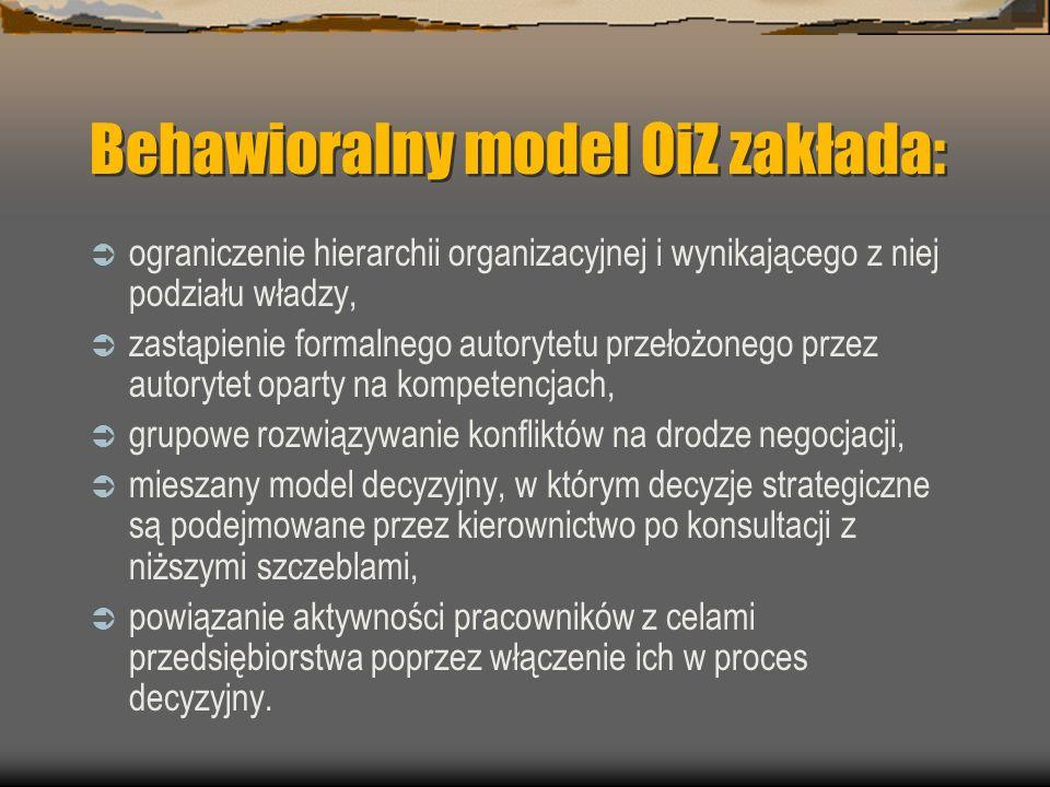 Behawioralny model OiZ zakłada: ograniczenie hierarchii organizacyjnej i wynikającego z niej podziału władzy, zastąpienie formalnego autorytetu przeło