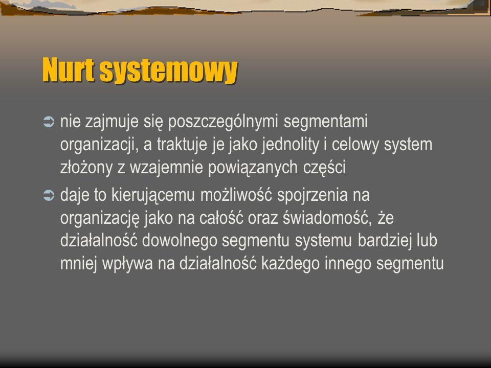 Nurt systemowy nie zajmuje się poszczególnymi segmentami organizacji, a traktuje je jako jednolity i celowy system złożony z wzajemnie powiązanych czę