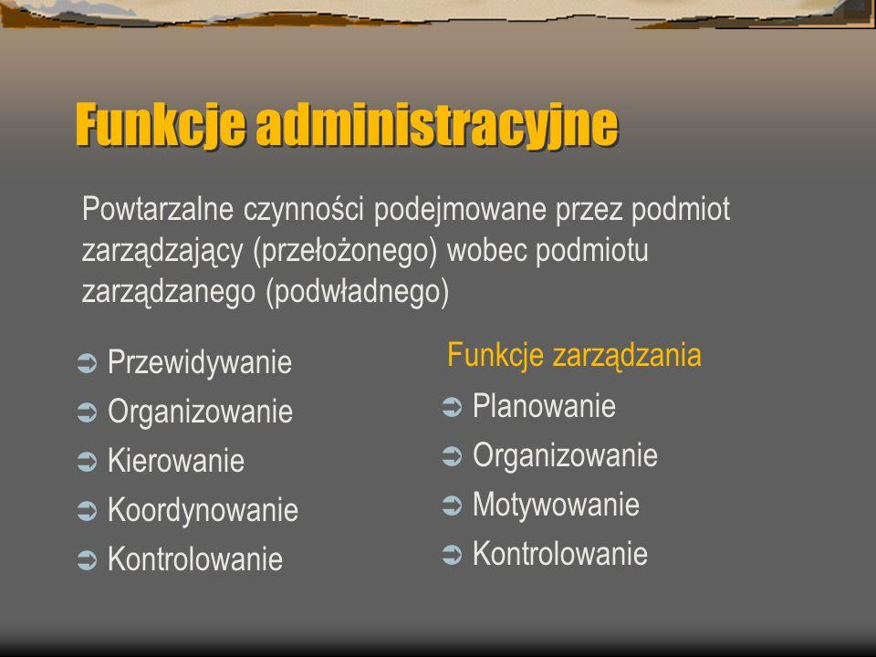 Funkcje administracyjne Przewidywanie Organizowanie Kierowanie Koordynowanie Kontrolowanie Powtarzalne czynności podejmowane przez podmiot zarządzając
