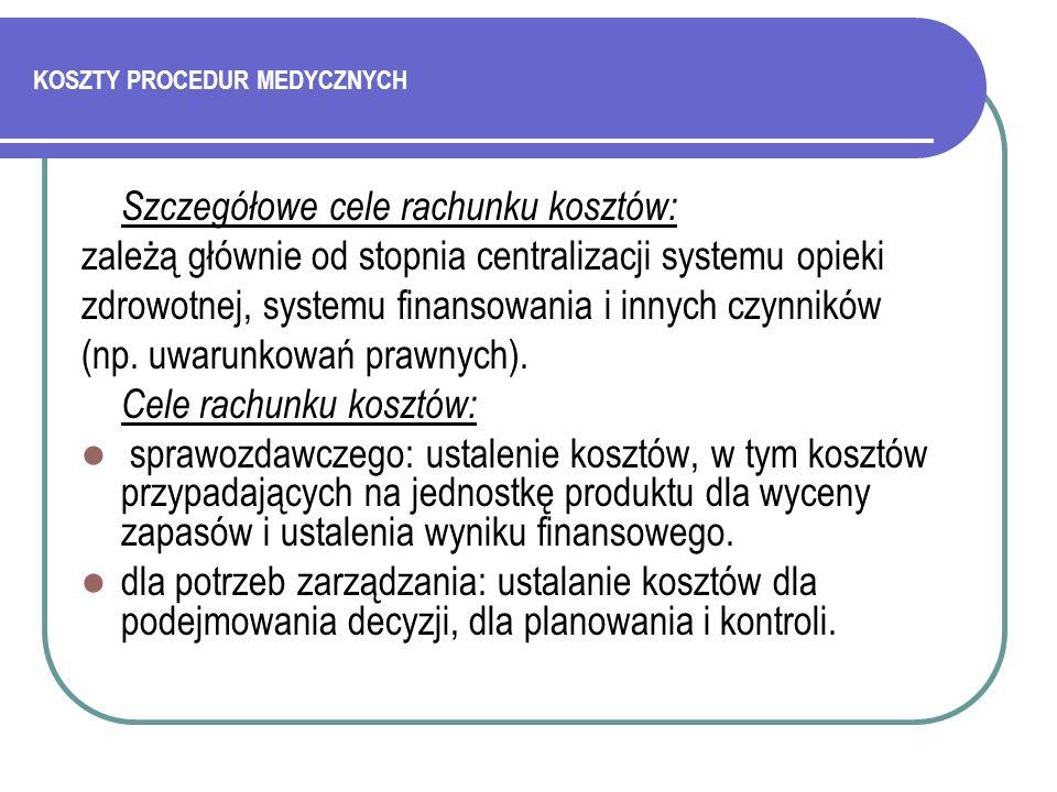 KOSZTY PROCEDUR MEDYCZNYCH Literatura: Getzen T.E.: Ekonomika zdrowia.