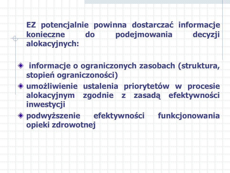 Wpływ ekonomiki zdrowia na politykę zdrowotną Problemy: czy EZ ma wpływ na politykę? w jaki sposób płatnicy wykorzystują EZ? rola EZ w kształtowaniu c