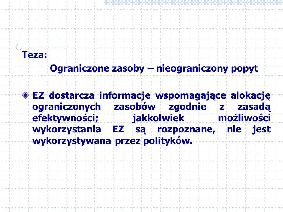 Teza: Ograniczone zasoby – nieograniczony popyt EZ dostarcza informacje wspomagające alokację ograniczonych zasobów zgodnie z zasadą efektywności; jakkolwiek możliwości wykorzystania EZ są rozpoznane, nie jest wykorzystywana przez polityków.