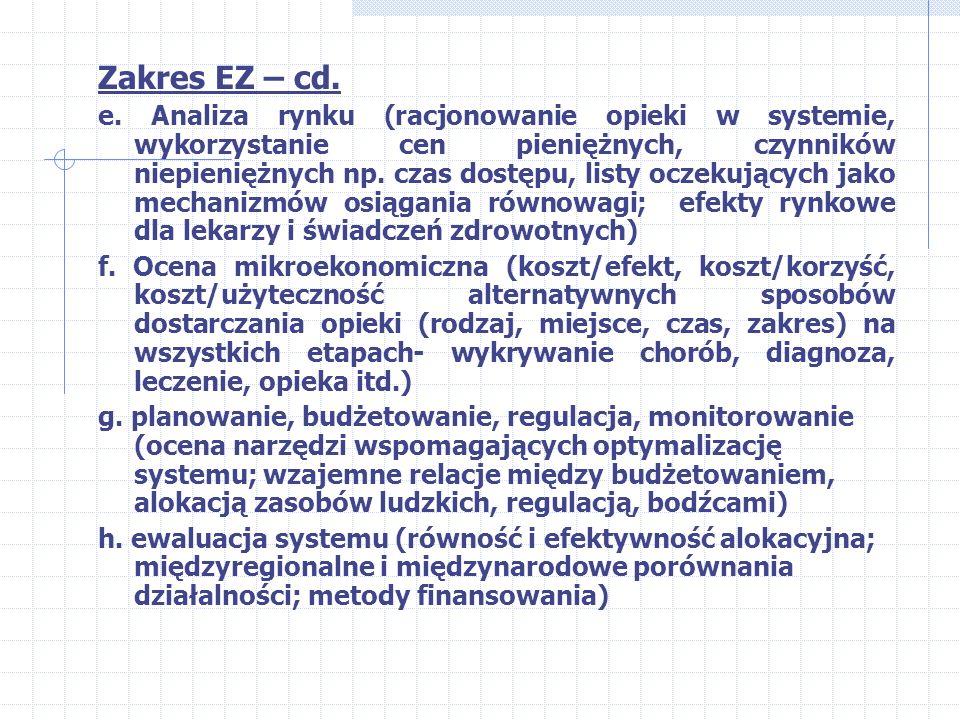 Zakres EZ: a. definicja zdrowia i jego wartości (wskaźniki stanu zdrowia, wartość życia i jego użyteczność) b. czynniki wpływające na zdrowie (uwarunk