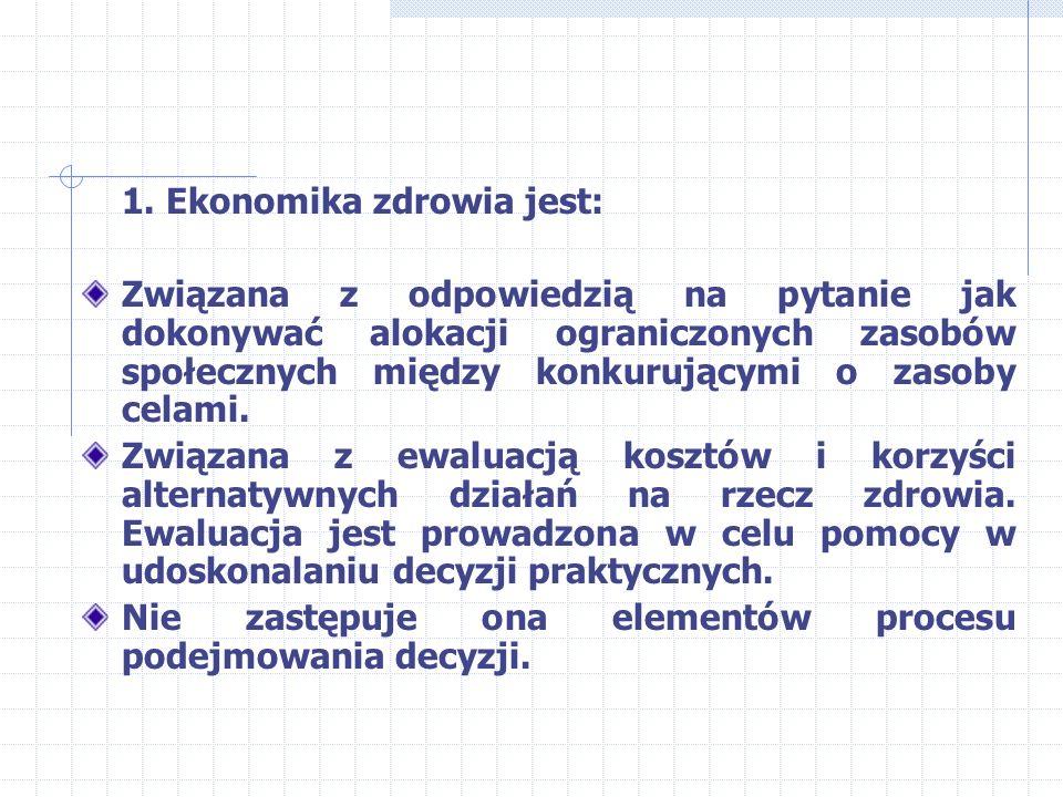 Zakres EZ – cd. e. Analiza rynku (racjonowanie opieki w systemie, wykorzystanie cen pieniężnych, czynników niepieniężnych np. czas dostępu, listy ocze