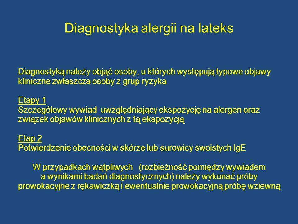 Diagnostyka alergii na lateks Diagnostyką należy objąć osoby, u których występują typowe objawy kliniczne zwłaszcza osoby z grup ryzyka Etapy 1 Szczeg