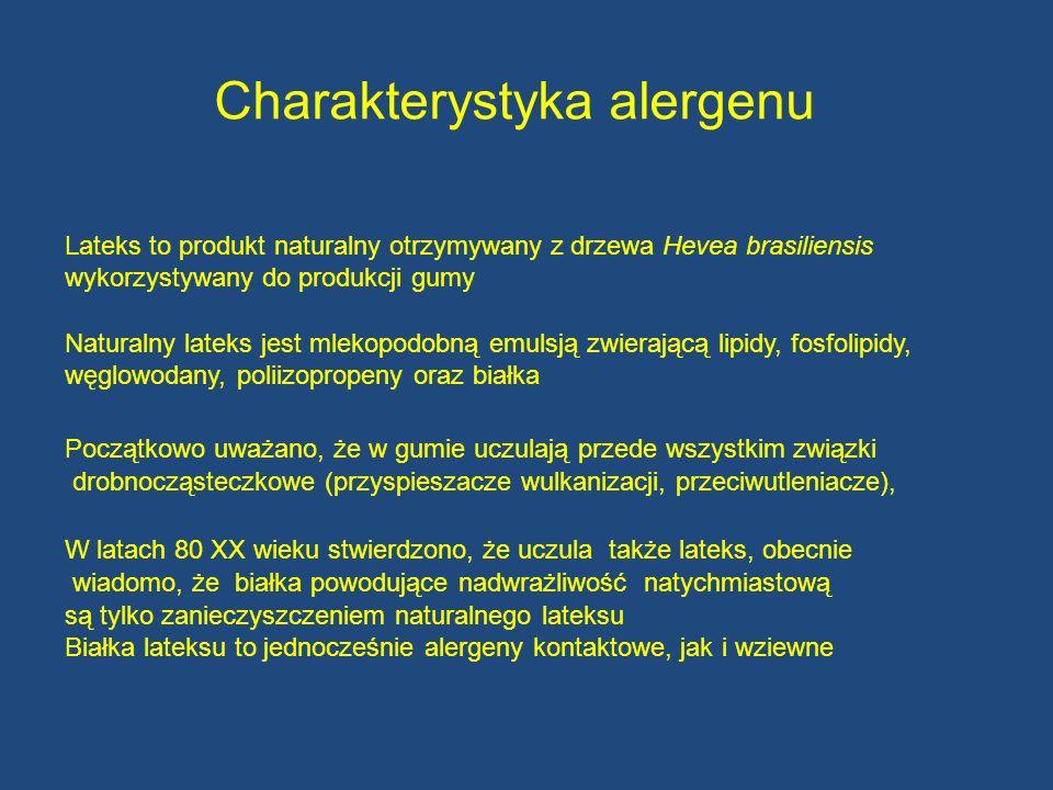 Charakterystyka alergenu Lateks to produkt naturalny otrzymywany z drzewa Hevea brasiliensis wykorzystywany do produkcji gumy Naturalny lateks jest ml