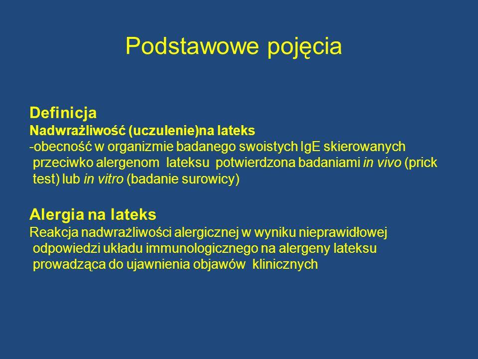 Podstawowe pojęcia Definicja Nadwrażliwość (uczulenie)na lateks -obecność w organizmie badanego swoistych IgE skierowanych przeciwko alergenom lateksu