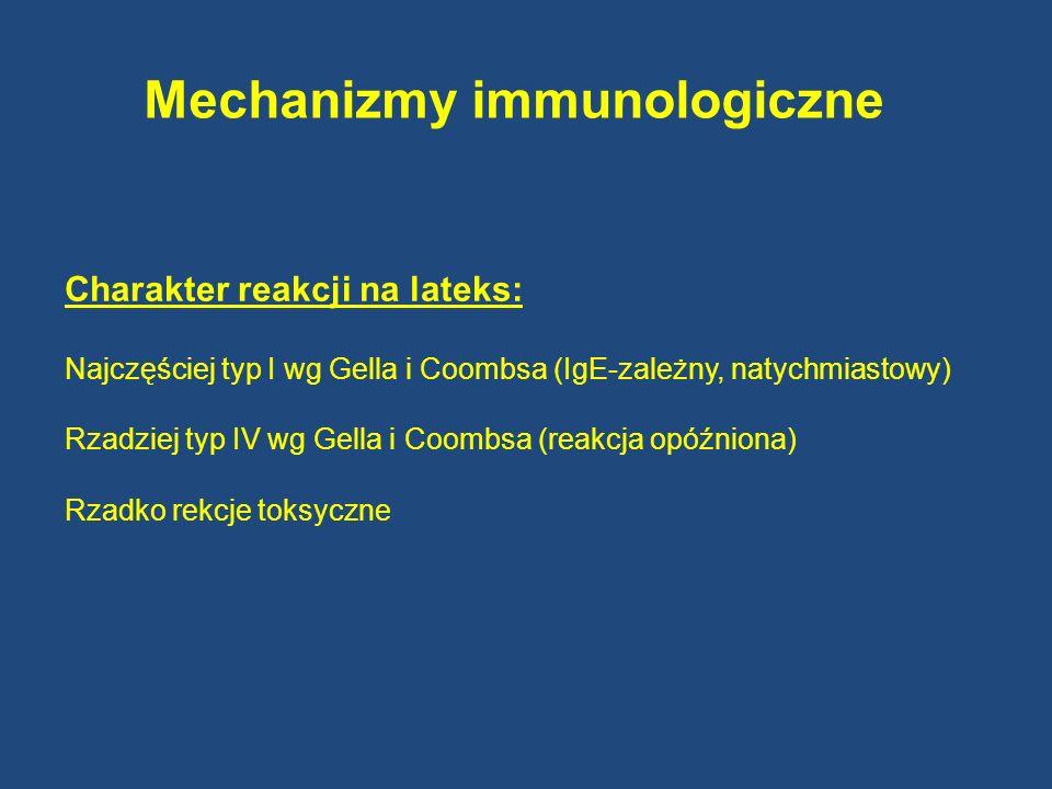 Mechanizmy immunologiczne Charakter reakcji na lateks: Najczęściej typ I wg Gella i Coombsa (IgE-zależny, natychmiastowy) Rzadziej typ IV wg Gella i C