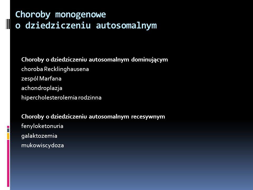 Choroby monogenowe o dziedziczeniu autosomalnym Choroby o dziedziczeniu autosomalnym dominującym choroba Recklinghausena zespól Marfana achondroplazja