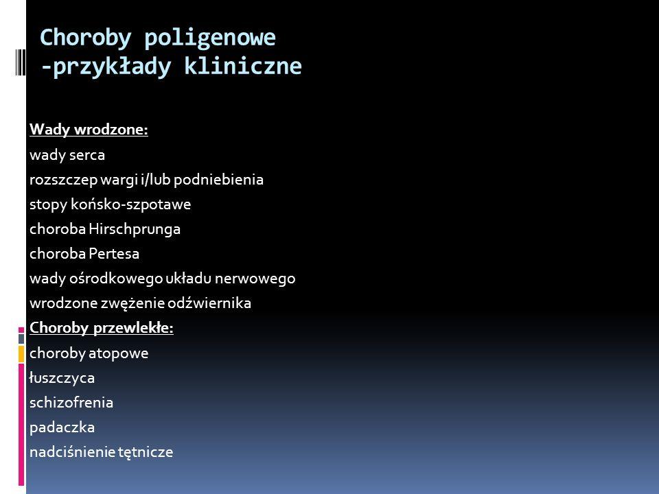 Choroby poligenowe -przykłady kliniczne Wady wrodzone: wady serca rozszczep wargi i/lub podniebienia stopy końsko-szpotawe choroba Hirschprunga chorob