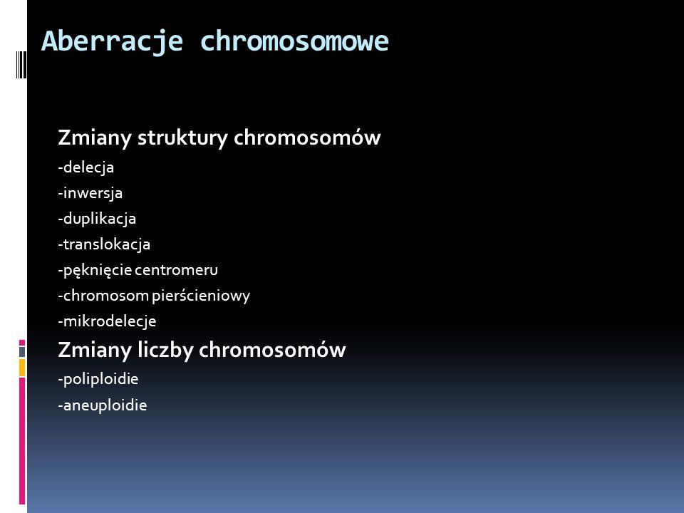 Aberracje chromosomowe Zmiany struktury chromosomów -delecja -inwersja -duplikacja -translokacja -pęknięcie centromeru -chromosom pierścieniowy -mikro