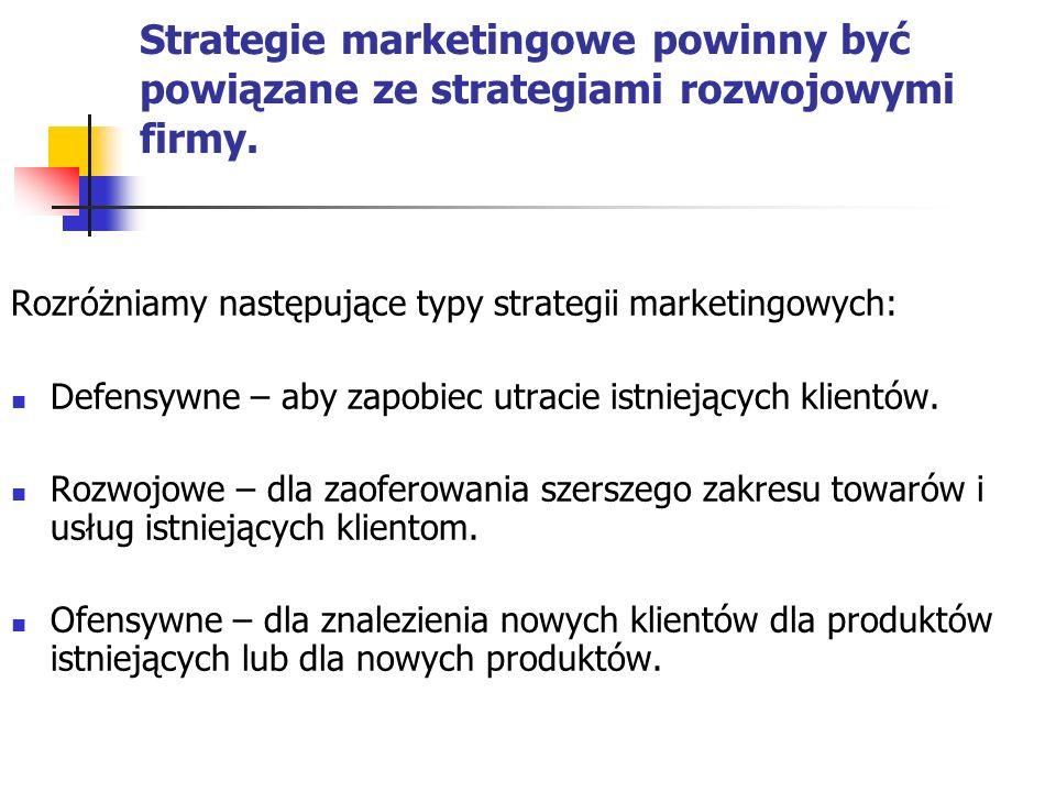 Strategie marketingowe powinny być powiązane ze strategiami rozwojowymi firmy. Rozróżniamy następujące typy strategii marketingowych: Defensywne – aby