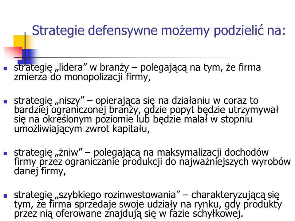 Strategie defensywne możemy podzielić na: strategię lidera w branży – polegającą na tym, że firma zmierza do monopolizacji firmy, strategię niszy – op
