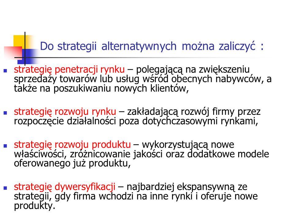 Do strategii alternatywnych można zaliczyć : strategię penetracji rynku – polegającą na zwiększeniu sprzedaży towarów lub usług wśród obecnych nabywcó
