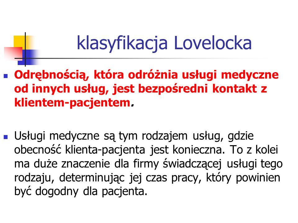 klasyfikacja Lovelocka Odrębnością, która odróżnia usługi medyczne od innych usług, jest bezpośredni kontakt z klientem-pacjentem. Usługi medyczne są