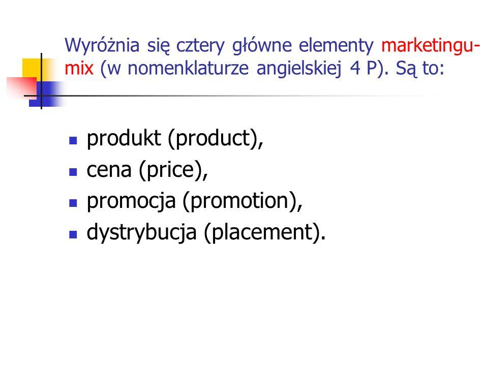 Wyróżnia się cztery główne elementy marketingu- mix (w nomenklaturze angielskiej 4 P). Są to: produkt (product), cena (price), promocja (promotion), d