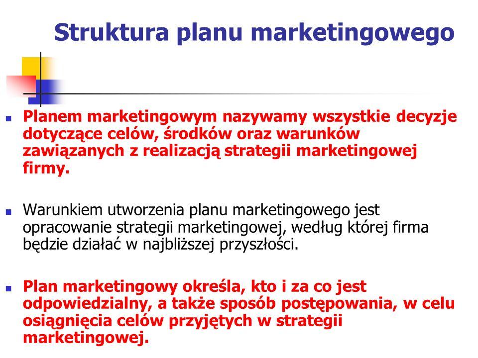 Struktura planu marketingowego Planem marketingowym nazywamy wszystkie decyzje dotyczące celów, środków oraz warunków zawiązanych z realizacją strateg