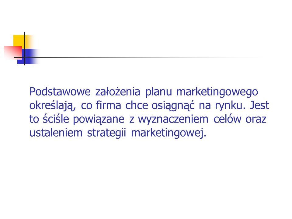 Podstawowe założenia planu marketingowego określają, co firma chce osiągnąć na rynku. Jest to ściśle powiązane z wyznaczeniem celów oraz ustaleniem st