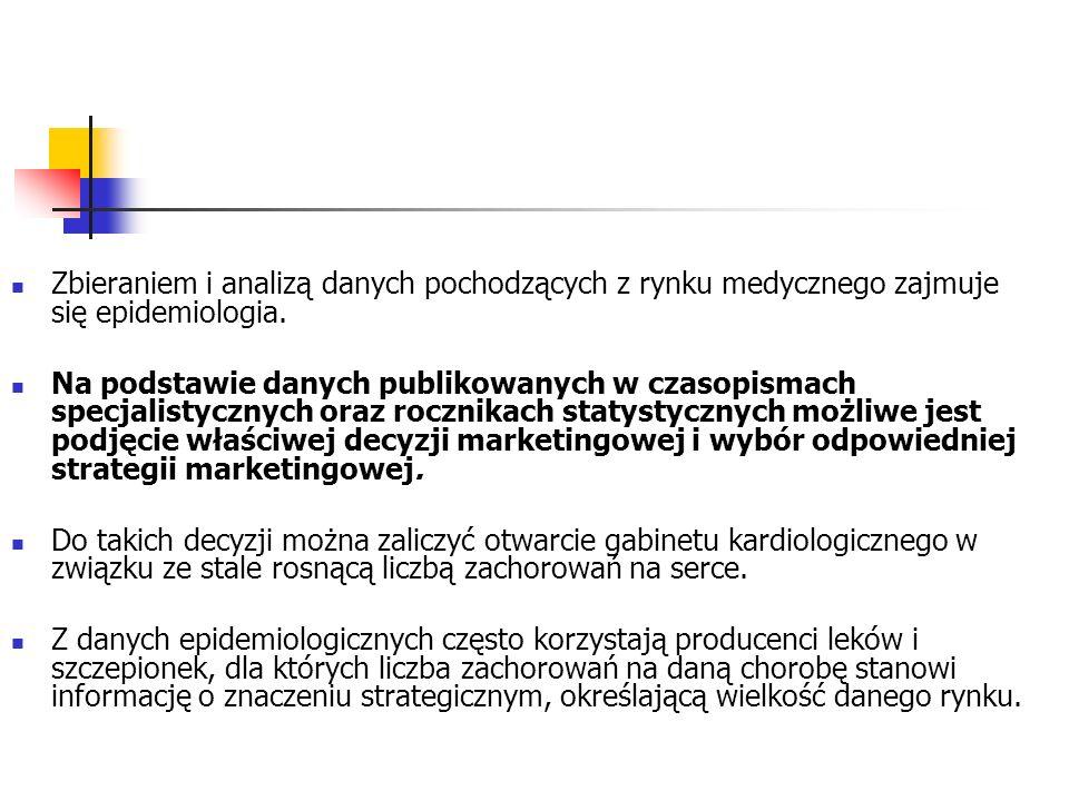 Zbieraniem i analizą danych pochodzących z rynku medycznego zajmuje się epidemiologia. Na podstawie danych publikowanych w czasopismach specjalistyczn