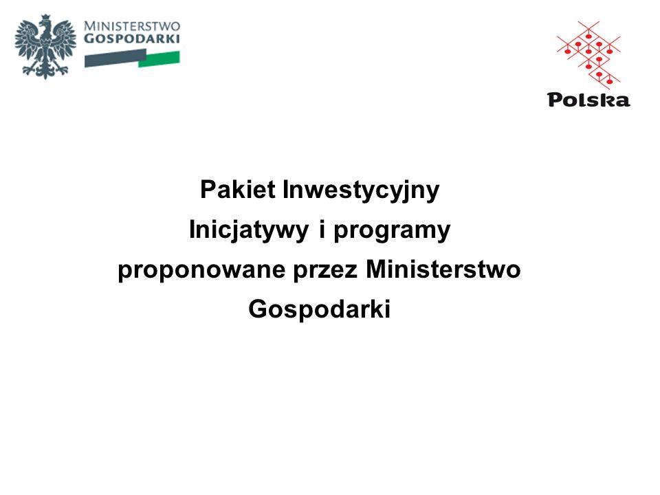 Pakiet Inwestycyjny Inicjatywy i programy proponowane przez Ministerstwo Gospodarki