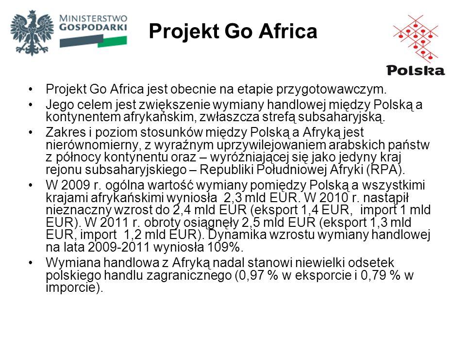 Projekt Go Africa Projekt Go Africa jest obecnie na etapie przygotowawczym. Jego celem jest zwiększenie wymiany handlowej między Polską a kontynentem