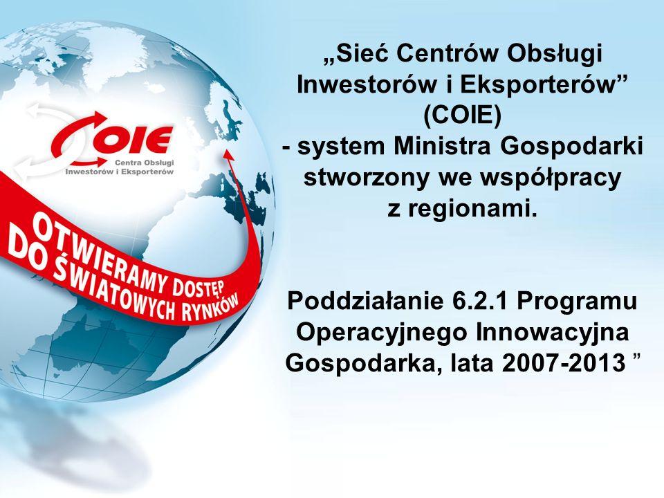 Sieć Centrów Obsługi Inwestorów i Eksporterów (COIE) - system Ministra Gospodarki stworzony we współpracy z regionami. Poddziałanie 6.2.1 Programu Ope