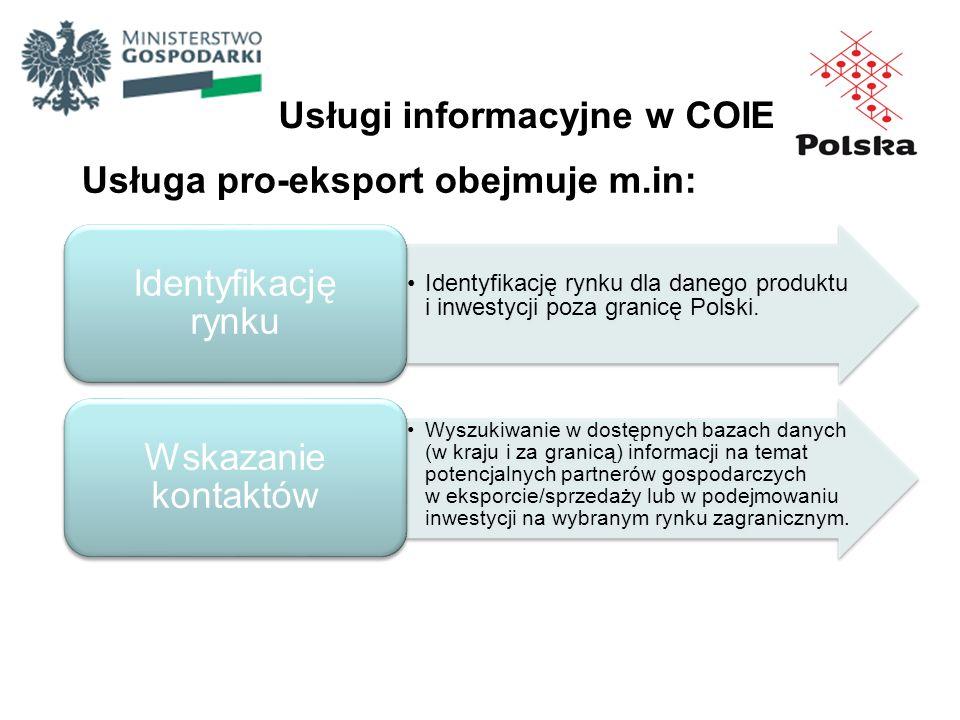 Usługi informacyjne w COIE Usługa pro-eksport obejmuje m.in: Identyfikację rynku dla danego produktu i inwestycji poza granicę Polski. Identyfikację r