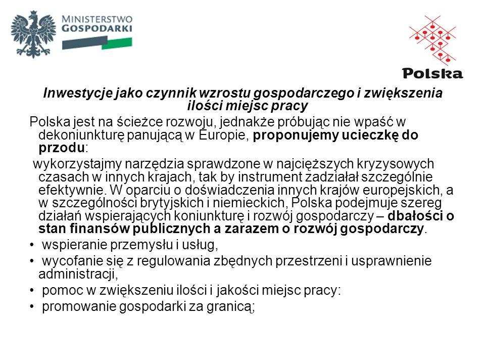 Inwestycje jako czynnik wzrostu gospodarczego i zwiększenia ilości miejsc pracy Polska jest na ścieżce rozwoju, jednakże próbując nie wpaść w dekoniun