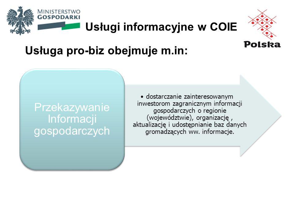 Usługi informacyjne w COIE Usługa pro-biz obejmuje m.in: dostarczanie zainteresowanym inwestorom zagranicznym informacji gospodarczych o regionie (woj