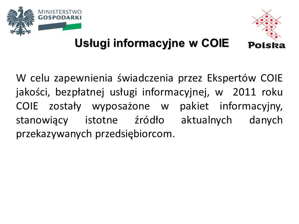 Usługi informacyjne w COIE W celu zapewnienia świadczenia przez Ekspertów COIE jakości, bezpłatnej usługi informacyjnej, w 2011 roku COIE zostały wypo