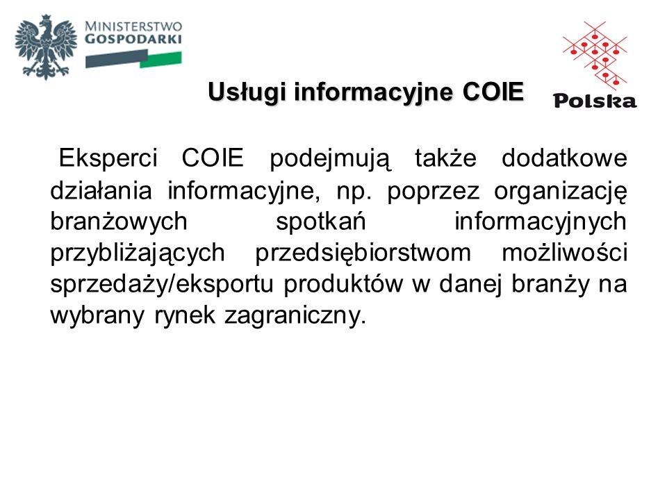 Eksperci COIE podejmują także dodatkowe działania informacyjne, np. poprzez organizację branżowych spotkań informacyjnych przybliżających przedsiębior