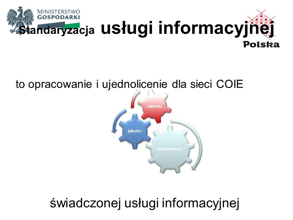Standaryzacja usługi informacyjnej to opracowanie i ujednolicenie dla sieci COIE świadczonej usługi informacyjnej terminowości jakości zakresu