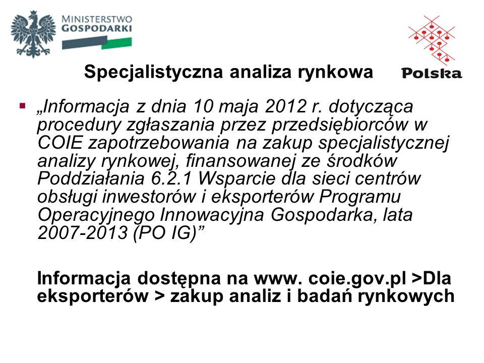Informacja z dnia 10 maja 2012 r. dotycząca procedury zgłaszania przez przedsiębiorców w COIE zapotrzebowania na zakup specjalistycznej analizy rynkow